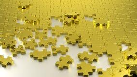 Złoty łamigłówka labirynt wpólnie ilustracja wektor
