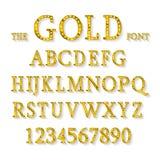 Złoty abecadło z przedstawienie lampami ilustracji