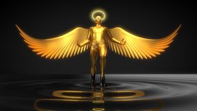Złoty anielski charakteru wydźwignięcie od czarnego ciecza ilustracja 3 d royalty ilustracja