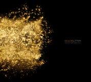 Złoty błyskotliwość proszek rozpraszający w czerni Złocistego pyłu wybuch obrazy stock