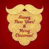 Złoty błyskotliwość Santas brody kartka z pozdrowieniami szablon Obraz Stock