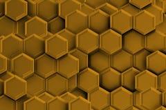 Złoty backgound z sześciokątami Zdjęcia Stock