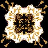 Złoty barok w ornamentów elementów rocznika szalika złocistym linowym projekcie royalty ilustracja