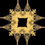 Złoty barokowy złoto i czarny biały koloru szalika wzór ilustracja wektor