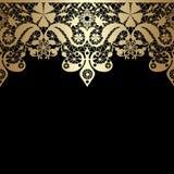 Złoty bezszwowy wschodni koronka wzór na czerni ilustracji