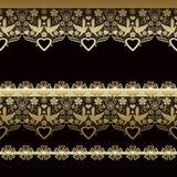 Złoty bezszwowy wschodni koronka wzór na czerni ilustracja wektor
