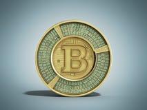Złoty bitcoin 3d odpłaca się na błękitnym tle Obrazy Stock
