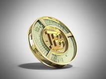 Złoty bitcoin 3d odpłaca się na popielatym tle Fotografia Royalty Free