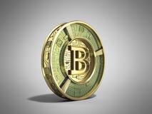 Złoty bitcoin 3d odpłaca się na popielatym tle Obraz Stock