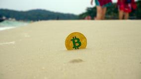 Złoty bitcoin na plaży Fotografia Royalty Free