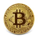 Złoty bitcoin odizolowywający na białym tle Obraz Stock