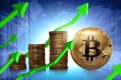 Złoty bitcoin waluty wzrastać oddolny zdjęcia stock