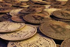 Złoty Bitcoins nowy wirtualny pieniądze świadczenia 3 d Royalty Ilustracja