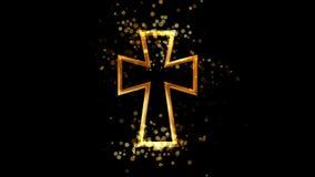 Złoty bizantyne krzyż, chrześcijaństwo religijny symbol na przejrzystym tle royalty ilustracja