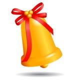 Złoty boże narodzenie dzwon z czerwonym łękiem odizolowywającym na białym tle Fotografia Stock