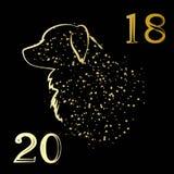 Złoty boże narodzenie pies Zdjęcie Stock