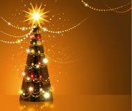 złoty Bożego Narodzenia drzewo Zdjęcia Stock