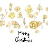 Złoty Bożenarodzeniowy bezszwowy ornament z choinką i piłkami Fotografia Royalty Free