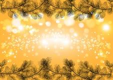 Złoty Bożenarodzeniowy iskrzasty tło, zima wakacje wektoru karty szablon Obraz Royalty Free