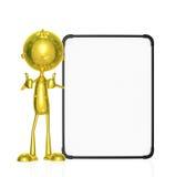 Złoty charakter z białą deską Obraz Royalty Free