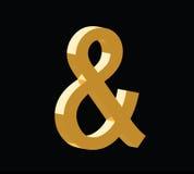 Złoty 3d symbol reprezentuje słowo ilustracji