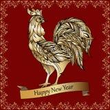 Złoty dekoracyjny kogut na czerwonym tle szczęśliwego nowego roku, ilustracji