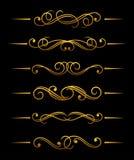 złoty dividers rocznik Obrazy Royalty Free