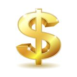 Złoty dolarowy znak Obraz Royalty Free