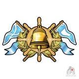 Złoty dzwon na kierownicie między złotym wiankiem i flagami na bielu Sporta logo dla jakaś jachtingu lub żeglowania drużyny ilustracja wektor