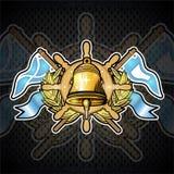 Złoty dzwon na kierownicie między złotym wiankiem i flagami na blackboard Sporta logo dla jakaś jachtingu lub żeglowania drużyny ilustracji