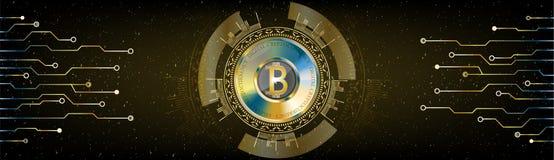 Złoty Futurystyczny Bitcoin pojęcie HUD astronautyczny pozaziemski tło w royalty ilustracja