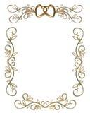 złoty graniczny zaproszenie na ślub stron Zdjęcia Royalty Free