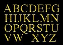 Złoty grawerujący abecadła literowania set royalty ilustracja