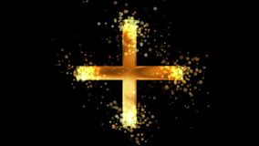 Złoty grecki krzyż, chrześcijaństwo religijny symbol na przejrzystym tle ilustracja wektor