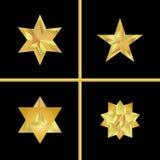 Złoty gwiazda set Geometryczna 3d ikona Nowożytny styl również zwrócić corel ilustracji wektora Elegancki symbol osiągnięcia i zw ilustracja wektor