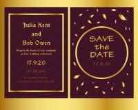 Złoty i nowożytny ślubny zaproszenie szablon royalty ilustracja