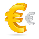 Złoty I Srebny Euro waluta pieniądze symbol Zdjęcie Royalty Free