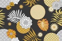 Złoty i srebny kwiecisty wzór z Japońskimi motywami Minimalizmu styl ilustracja wektor