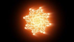 Złoty indyjski mandala wzór z promieniami światło na czarnym tle ilustracja wektor