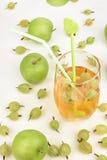 Złoty Jabłczany sok w szkle Zdjęcie Stock