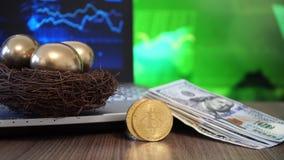Złoty jajko, Bitcoin Cyfrowy pieniądze i dolar, Przyszłościowy inwestorski pojęcie zbiory wideo