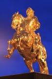 Złoty jeździec w Drezdeńskim zdjęcie stock