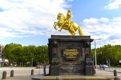 Złoty jeździec w Drezdeńskim obraz stock