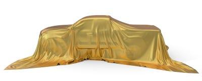 Złoty jedwab zakrywający furgonetki pojęcie ilustracja 3 d ilustracji