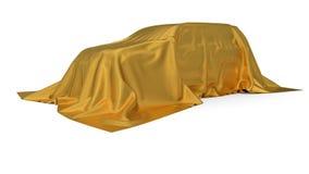 Złoty jedwab zakrywający SUV samochodu pojęcie ilustracja 3 d royalty ilustracja