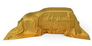 Złoty jedwab zakrywający SUV samochodu pojęcie ilustracja 3 d ilustracja wektor