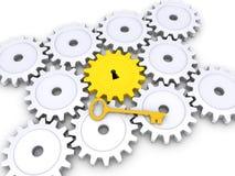 Złoty klucz z cogwheels na ziemi Obrazy Royalty Free