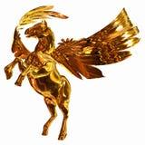 złoty koński oskrzydlony ilustracja wektor