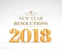 Złoty kolor 2018 3d nowy rok postanowień rendering na bielu Obraz Royalty Free