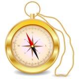 Złoty kompas z meandruje różanego na złocistym łańcuchu Północ, południe wschodni, zachodni, geografia, coordinates, kierunki Zdjęcie Royalty Free